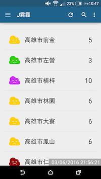 J霧霾應用程式示意圖_高雄地區列表